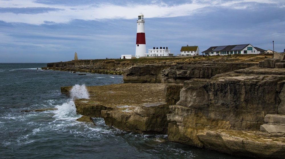 Portland Bill on rocks in Dorset